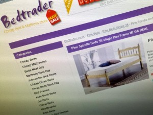 Typical Bedtrader product page (6 Jun 2013). Photograph by Graham Soult