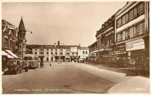 Postcard of Campbell Place, Stoke-upon-Trent, c1953, with Majestic Buildings on the right