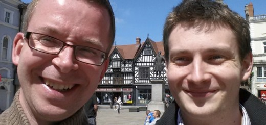 Me (left) and local retail expert Sam Stockley in The Square, Shrewsbury (10 Jun 2013). Photograph by Graham Soult