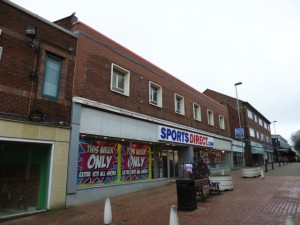 Rear of former Woolworths (now Sports Direct), Stafford (3 Feb 2013). Photograph by Graham Soult