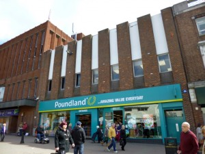Former Woolworths and TJ Hughes (now Poundland), Hanley (30 Apr 2013). Photograph by Graham Soult