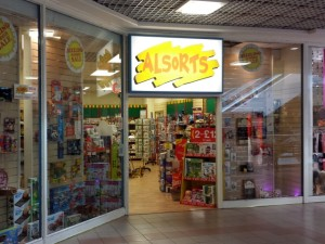Independent toy shop Alsorts, in Shrewsbury's Darwin shopping centre (10 Jun 2013). Photograph by Graham Soult