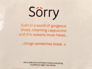 How to apologise for the gift card machine being broken, at Eldon Square (13 Jun 2013). Photograph by Graham Soult