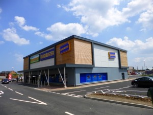 Reclad Farmfoods and Blockbuster at Tesco's Sunderland Retail Park (6 Jul 2013). Photograph by Graham Soult