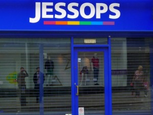 Sam and I ponder the closed-down Jessops in Shrewsbury's Castle Street (10 Jun 2013). Photograph by Graham Soult