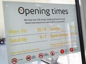 Chatty tone of Intu-fied Metrocentre opening times notice (11 Jul 2013). Photograph by Graham Soult