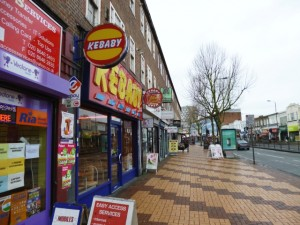 Businesses in London Road, Morden (1 Mar 2013). Photograph by Graham Soult
