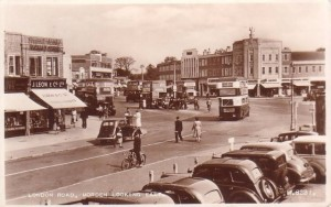 1940s postcard of London Road, Morden with Burton store