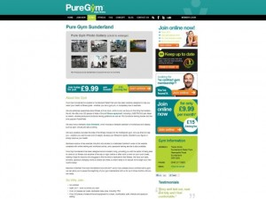 Sunderland coverage on Pure Gym website (7 Jul 2013)