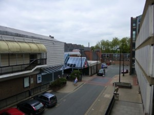 The tired - and earmarked for demolition - Riverside shopping centre in Shrewsbury (10 Jun 2013). Photograph by Graham Soult