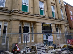 Ongoing redevelopment of former theatre in Shrewsbury (10 Jun 2013). Photograph by Graham Soult