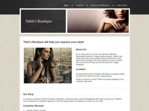 Tahir's Boutique homepage (8 Jul 2013)
