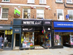Shrewsbury's independent stationery and kite shop, Write Here Kite Now (10 Jun 2013). Photograph by Graham Soult
