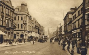 Undated postcard showing original Woolworths (far left) in Darlington's Northgate