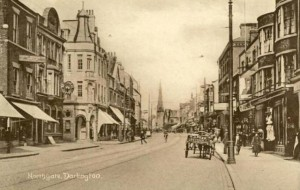 Postcard, perhaps c1910, showing what would later be the bay-windowed Woolworths in Darlington's Northgate