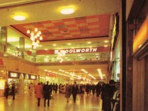 Woolworths' 1970s logo captured on an old postcard of Doncaster's Arndale Centre