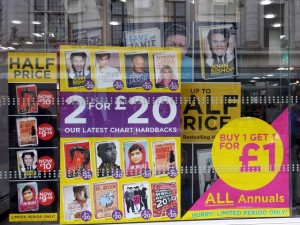 Window at WHSmith, Newcastle (14 Oct 2013). Photograph by Graham Soult