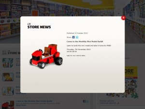 Promotion of instore events on the Lego Store website (15 Nov 2013)