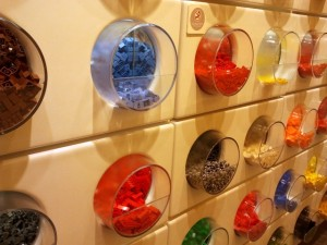 Pick and mix wall at Cardiff Lego Store (17 Aug 2012). Photograph by Graham Soult
