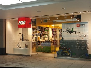 Lego Store frontage at Trinity Leeds (15 Aug 2013). Photograph by Graham Soult