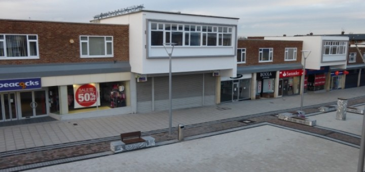 Former Woolworths, Newton Aycliffe, with improved public realm (5 Jan 2014). Photograph by Graham Soult