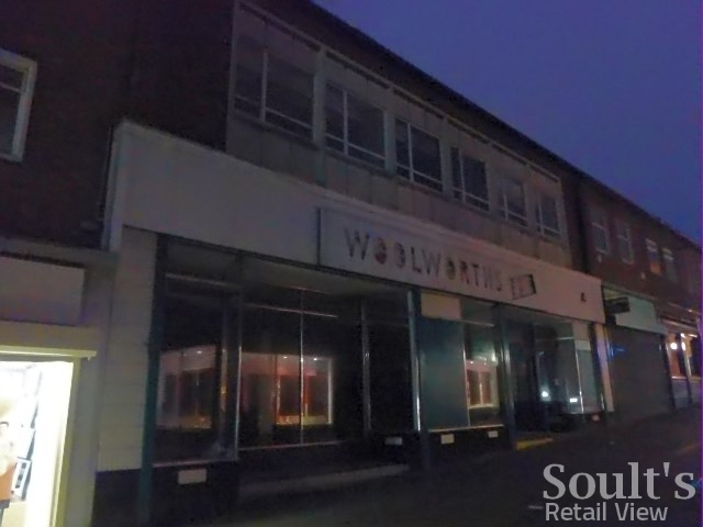 Nighttime view of Peterlee ex-Woolworths and ex-Poundland (5 Jan 2014). Photograph by Graham Soult