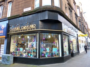 Charles Clinkard store in Byres Road, Glasgow (7 Dec 2012). Photograph by Graham Soult