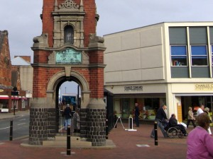 Charles Clinkard store in Redcar, next to the famous clock (17 Sep 2009). Photograph by Graham Soult