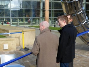 Artist Steve Newby at the Halo ribbon cutting, Trinity Square, Gateshead (13 Feb 2014). Photograph by Graham Soult