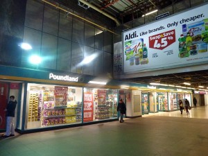 Poundland (former Woolworths), Birmingham Pallasades (3 Feb 2014). Photograph by Graham Soult