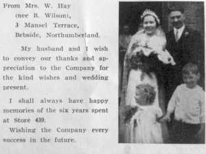 Acknowledgement of wedding gift in the October 1937 New Biond. Photograph by Graham Soult