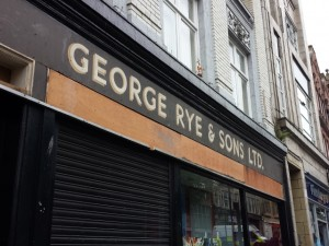 Exposed George Rye ghost fascia in Newcastle's Groat Market (10 Aug 2014). Photograph by Graham Soult