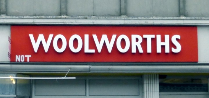 Fascia of 'Not Woolworths' in Coatbridge (4 Dec 2014). Photograph by Graham Soult
