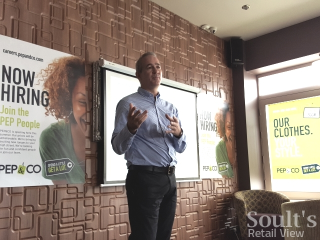 Pep&Co MD Adrian Mountford speaking to analysts in Kettering (25 Jun 2015). Photograph by Graham Soult