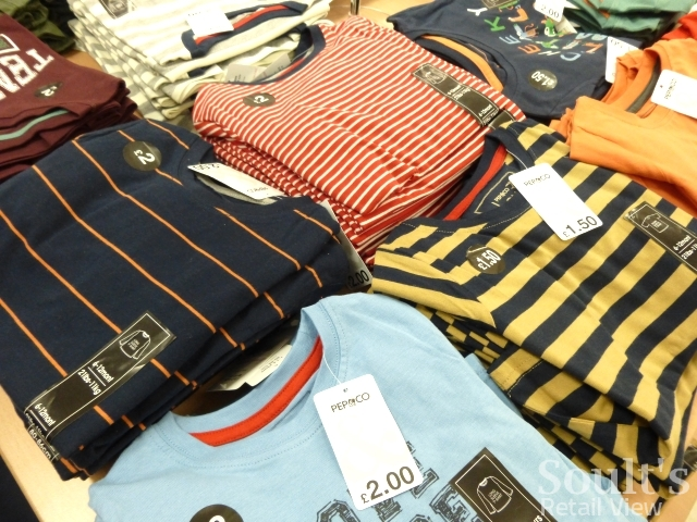 Childrenswear table at Pep&Co, Kettering (25 Jun 2015). Photograph by Graham Soult