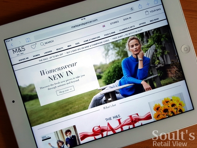 Marks & Spencer website viewed on a tablet. Photograph by Graham Soult