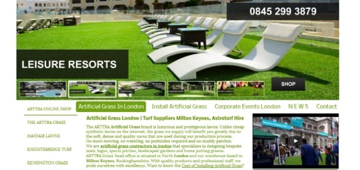 Arttra Artificial Grass website (9 Feb 2016)