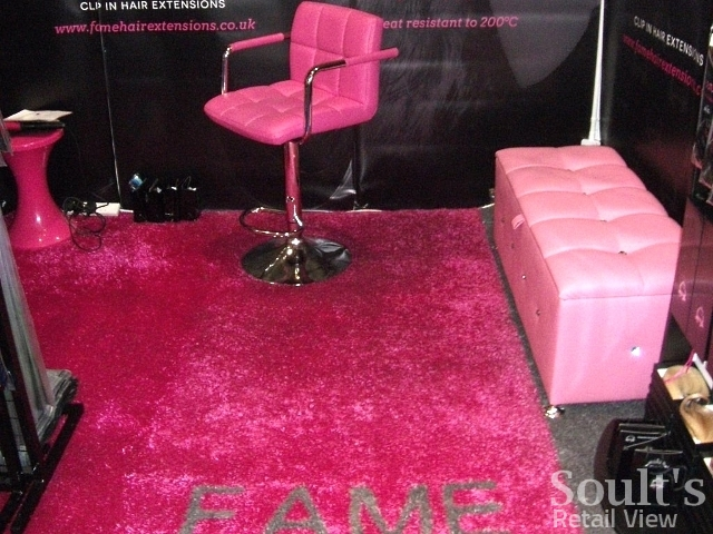 Use of pink Arttra artificial grass at the Salon International trade show in 2013