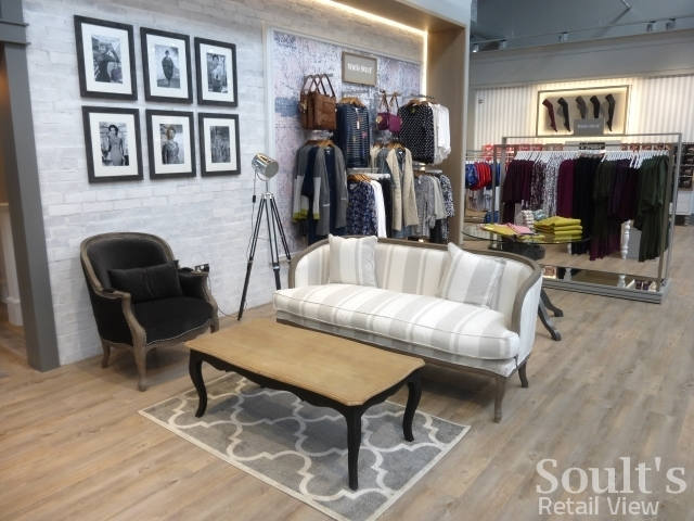 Seating area in the womenswear department at Sandersons department store (1 Sep 2016). Photograph by Graham Soult