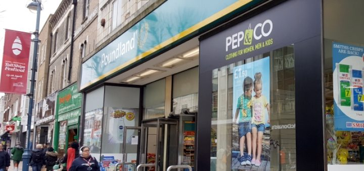 Pep&Co and Poundland in Woolwich (29 Mar 2017). Photograph by Graham Soult